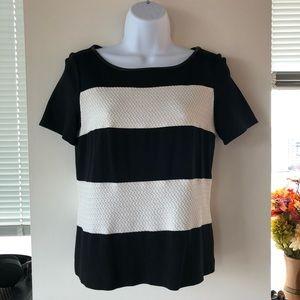 Express // Striped Shirt w/Leather Trim